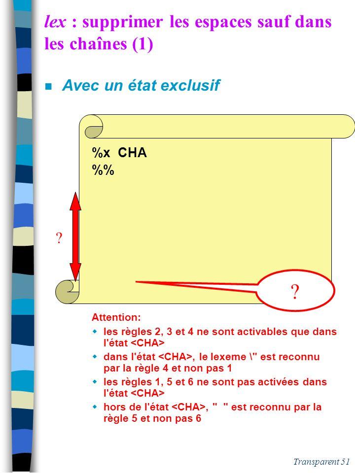 lex : supprimer les espaces sauf dans les chaînes (1)