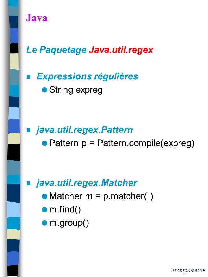 Java Le Paquetage Java.util.regex Expressions régulières String expreg