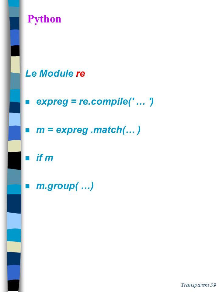 Python Le Module re expreg = re.compile( … ) m = expreg .match(… )