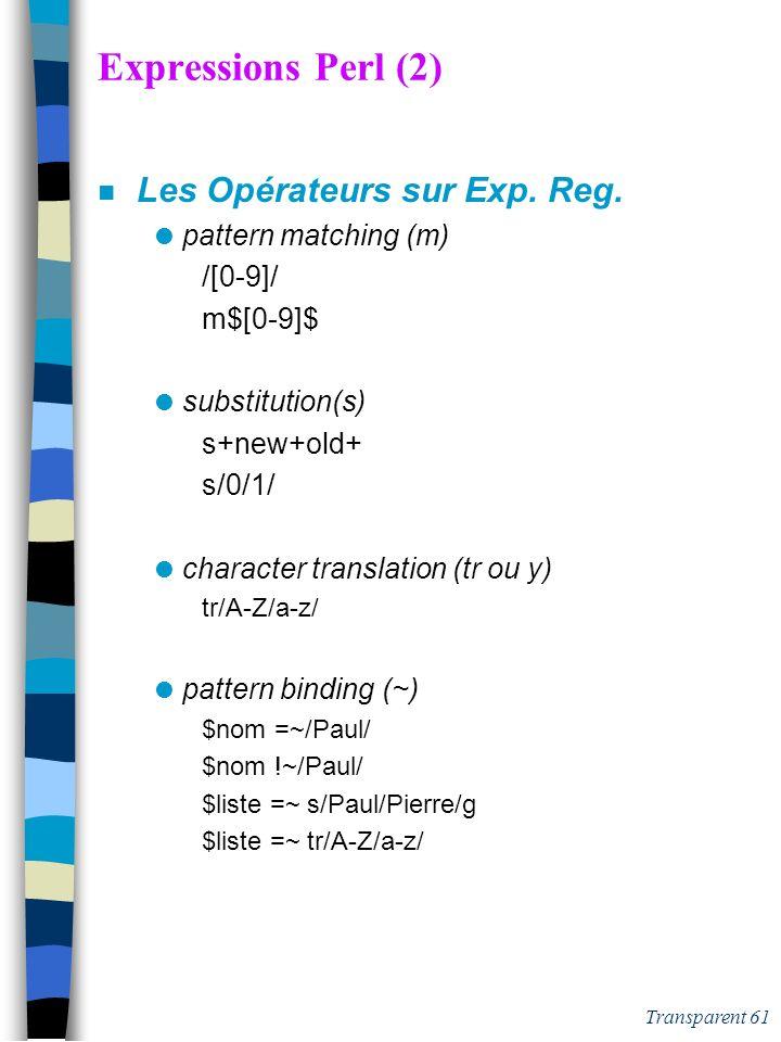 Expressions Perl (2) Les Opérateurs sur Exp. Reg. pattern matching (m)