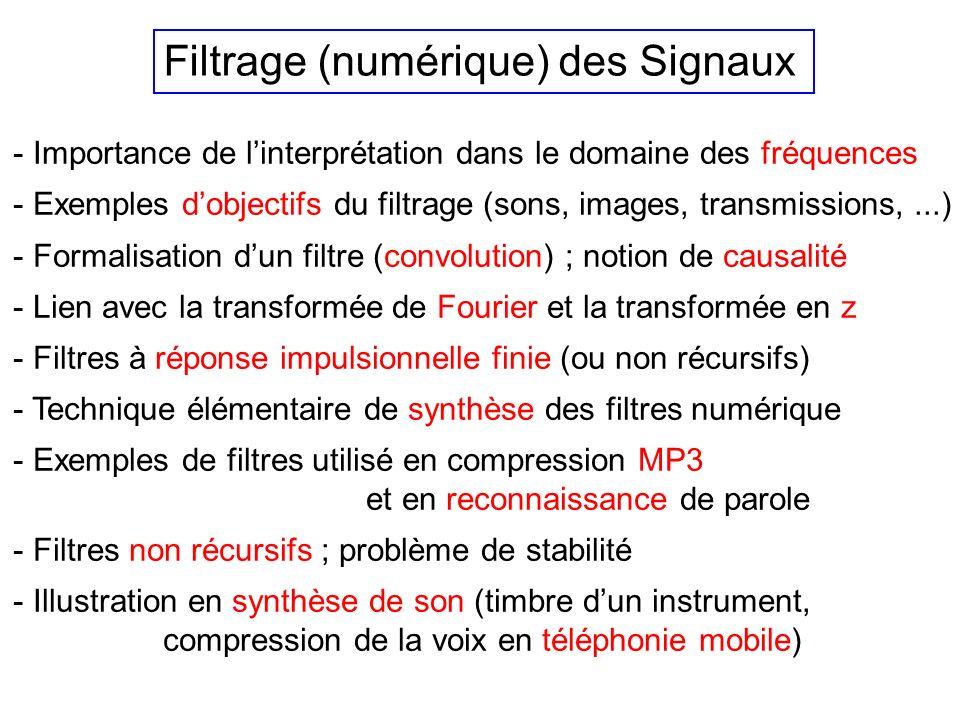 Filtrage (numérique) des Signaux