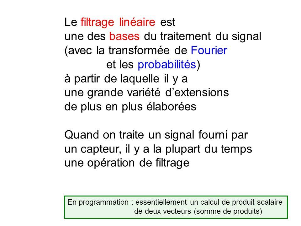Le filtrage linéaire est une des bases du traitement du signal