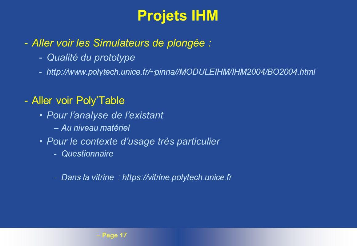 Projets IHM Aller voir les Simulateurs de plongée :