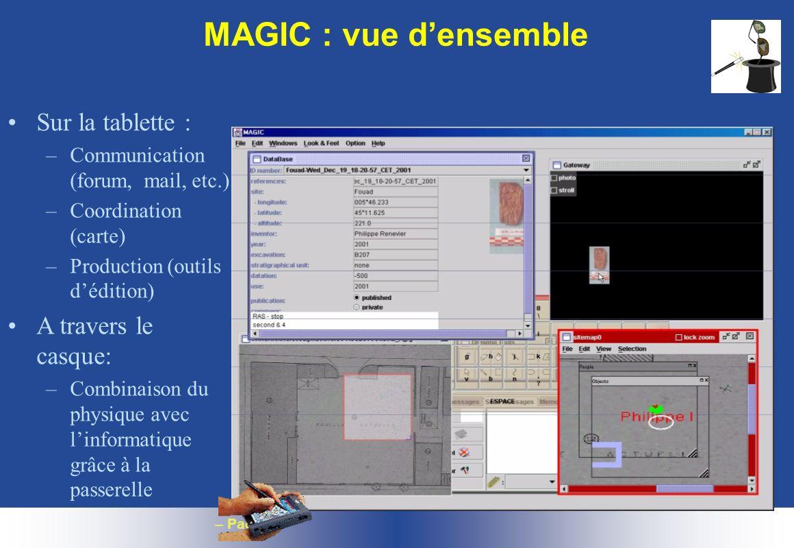 MAGIC : vue d'ensemble Sur la tablette : A travers le casque: