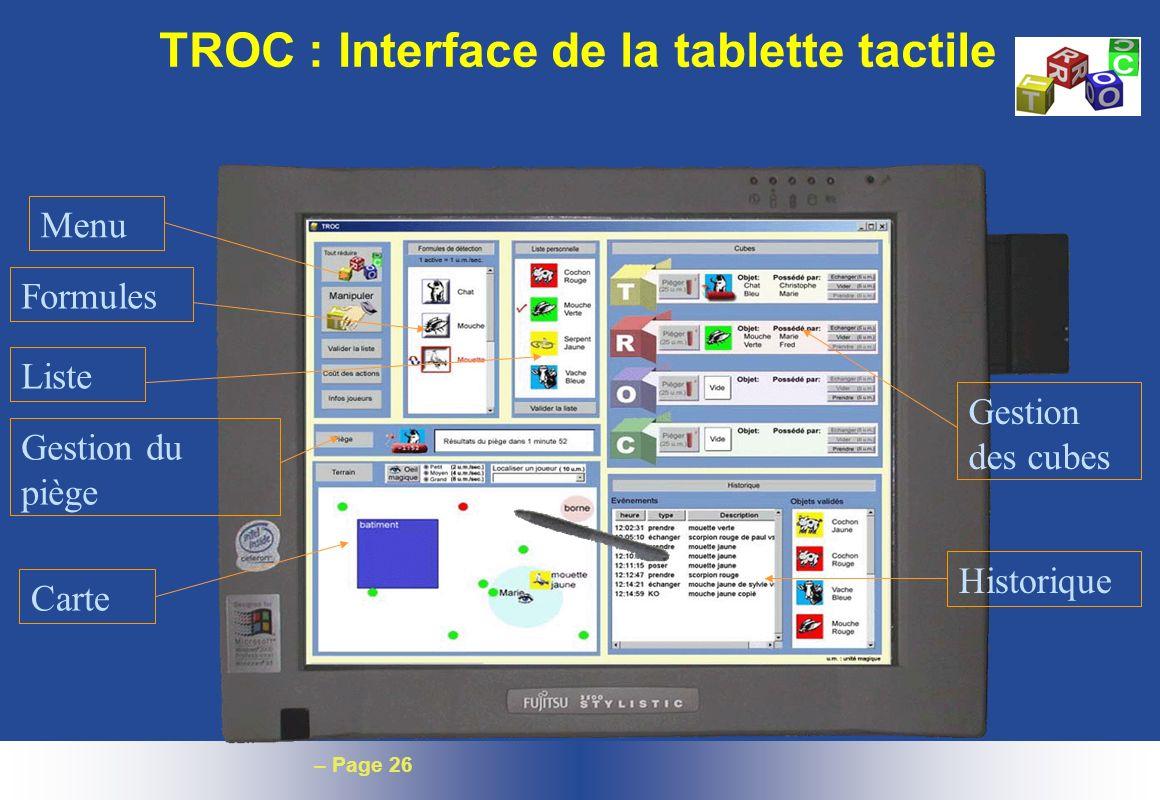 TROC : Interface de la tablette tactile