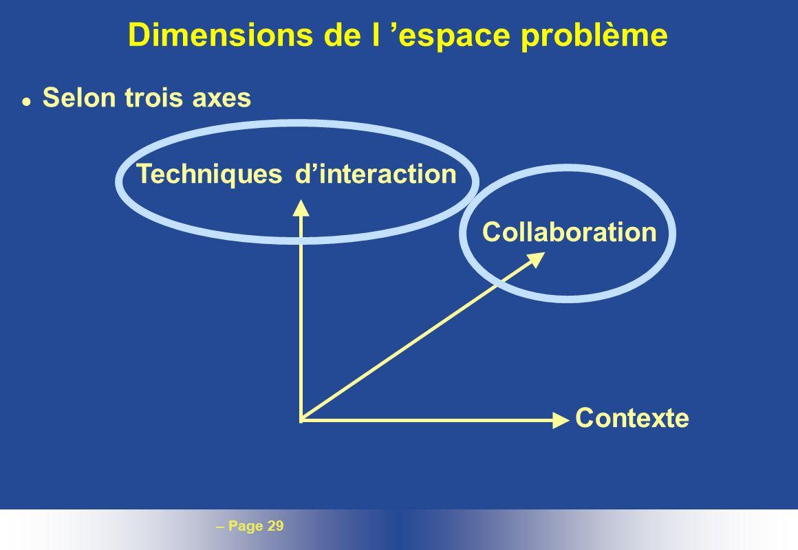 Dimensions de l 'espace problème