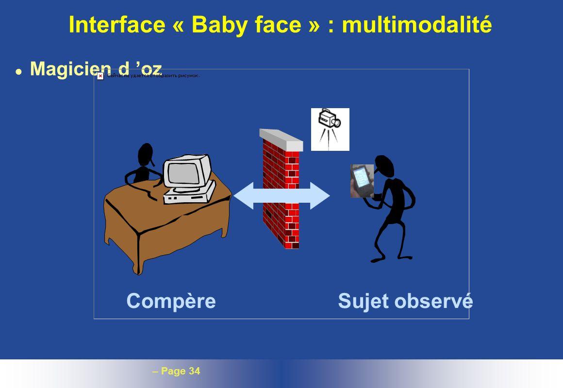 Interface « Baby face » : multimodalité