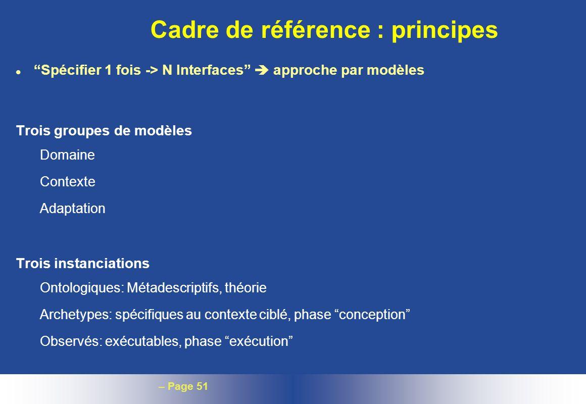 Cadre de référence : principes