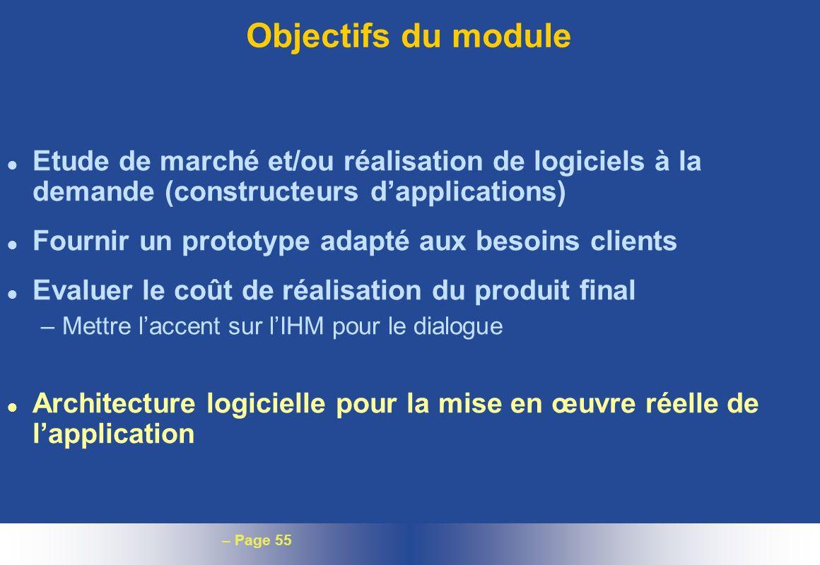 Objectifs du moduleEtude de marché et/ou réalisation de logiciels à la demande (constructeurs d'applications)