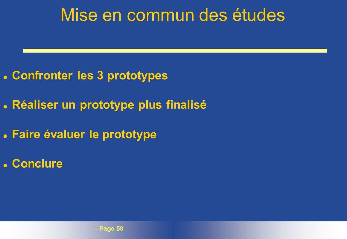 Mise en commun des études