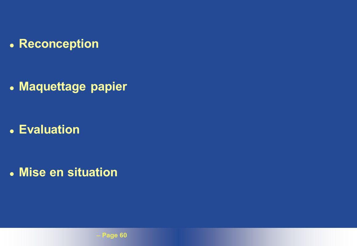 Reconception Maquettage papier Evaluation Mise en situation