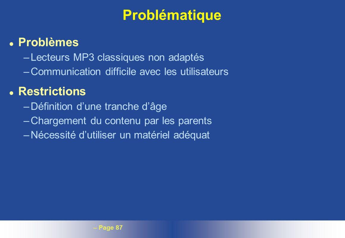 Problématique Problèmes Restrictions