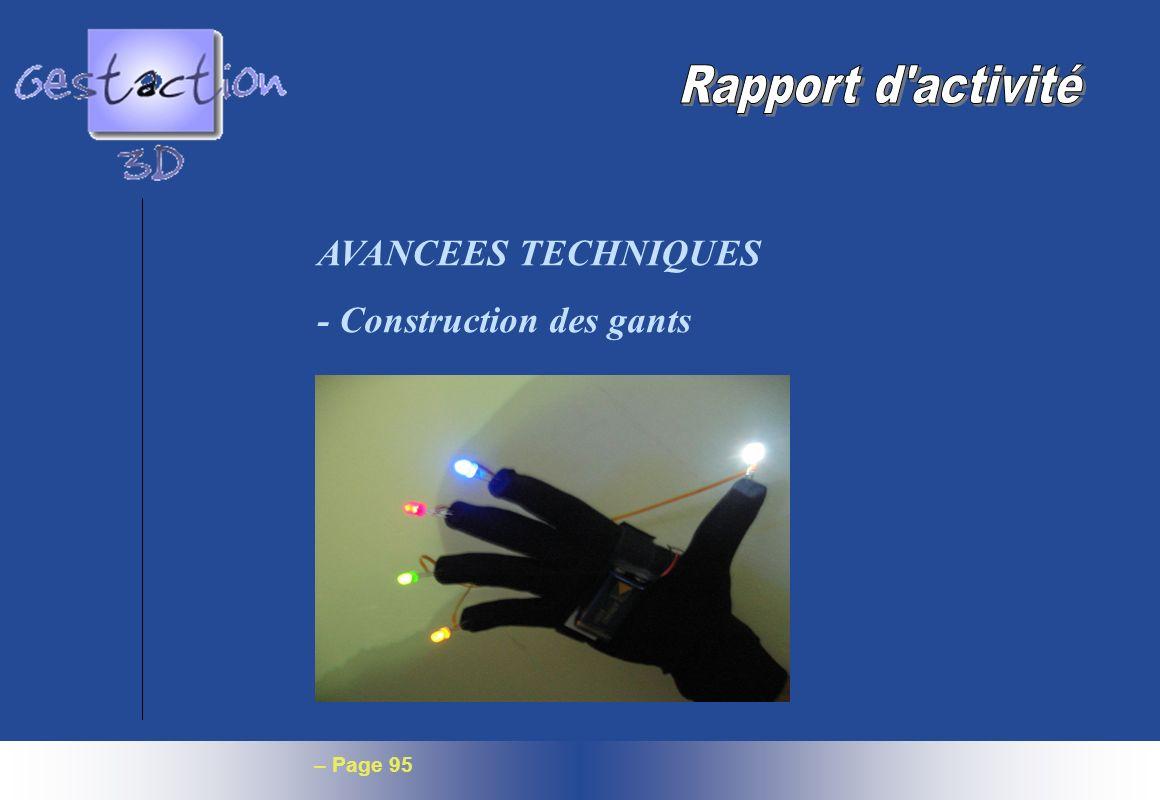 Rapport d activité AVANCEES TECHNIQUES - Construction des gants
