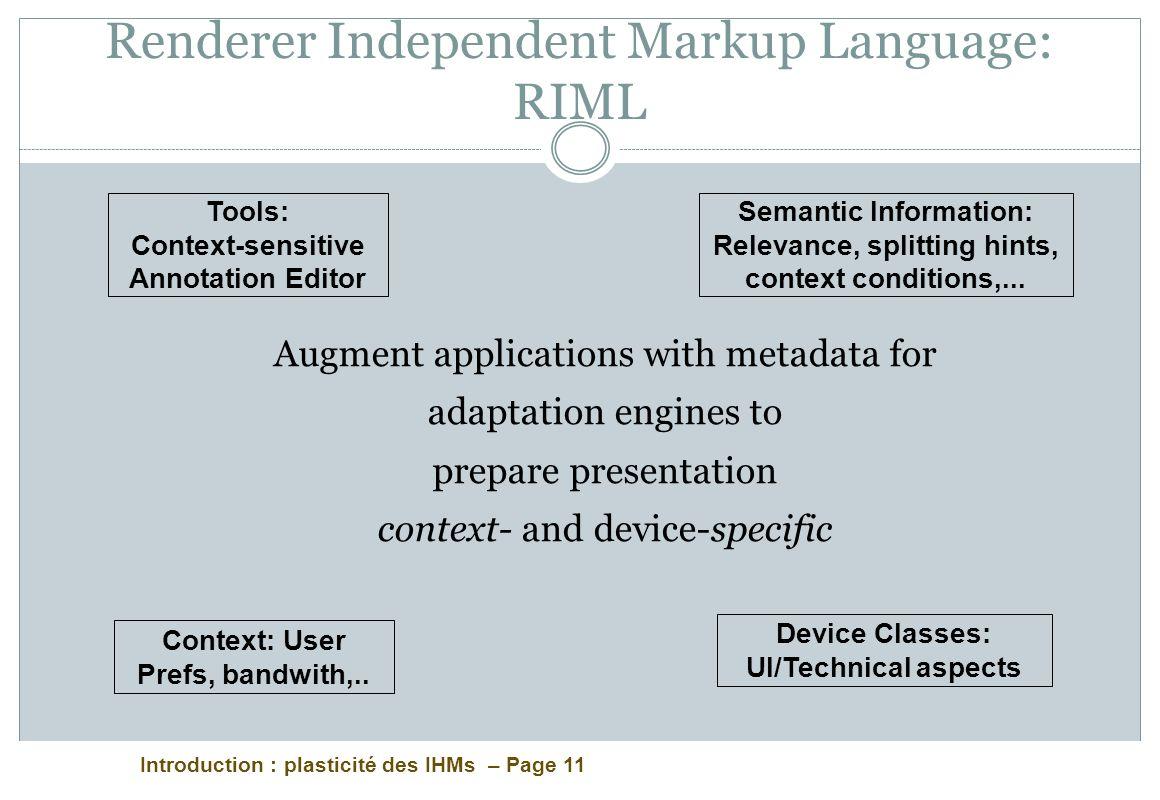 Renderer Independent Markup Language: RIML