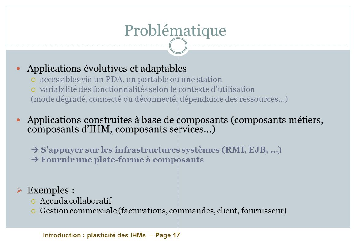 Problématique Applications évolutives et adaptables