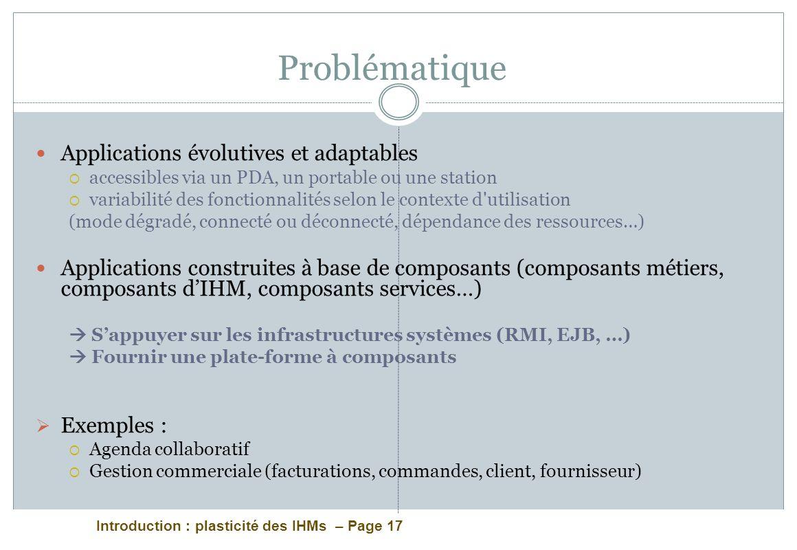 Problématique Applications évolutives et adaptables