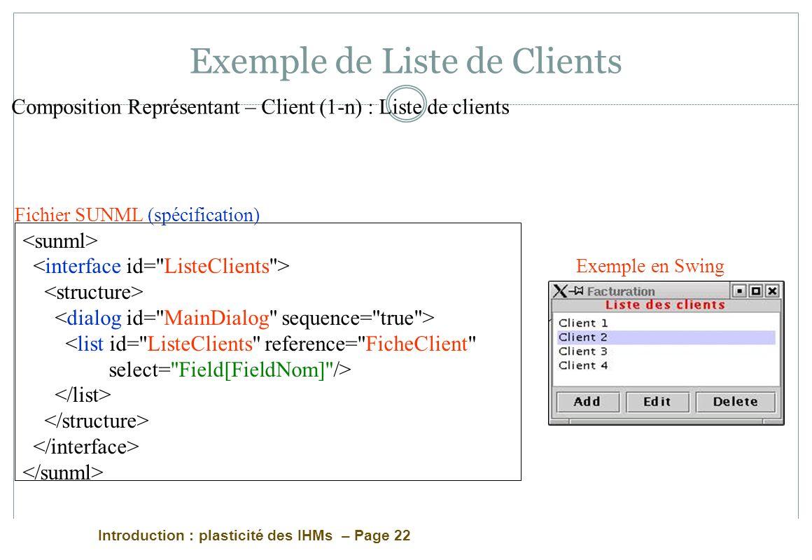 Exemple de Liste de Clients