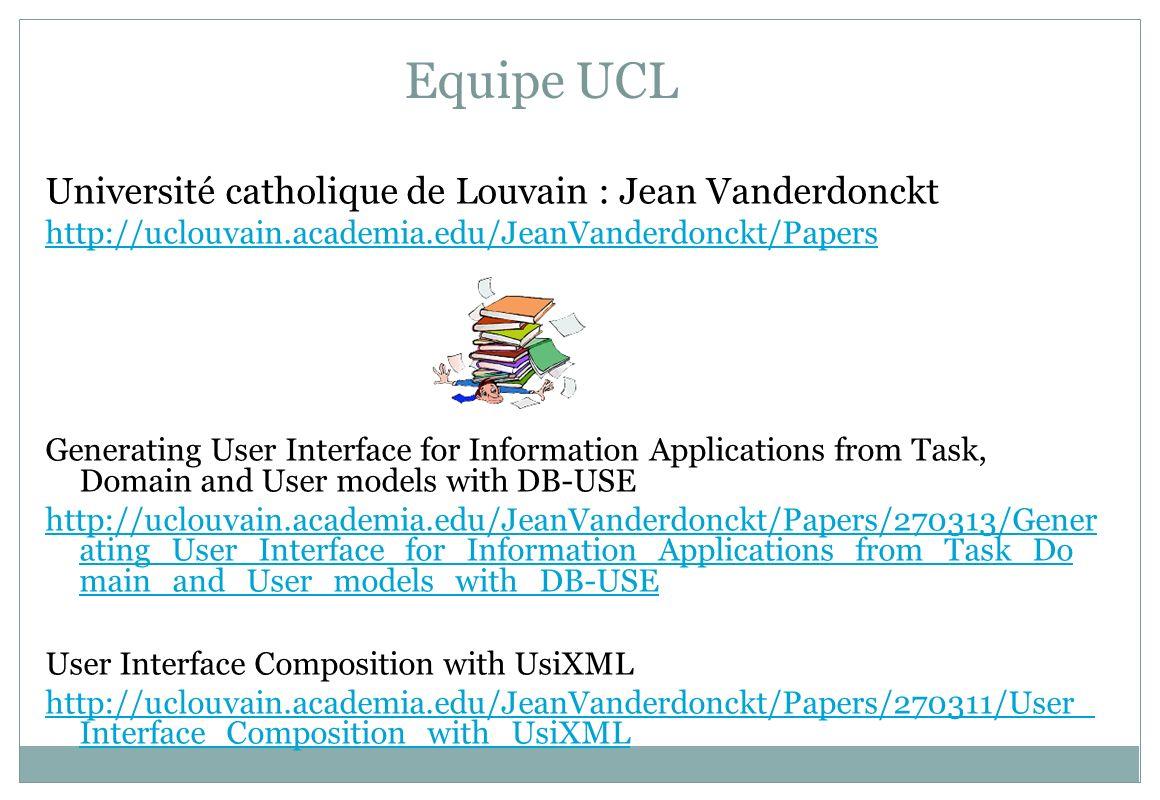 Equipe UCL Université catholique de Louvain : Jean Vanderdonckt