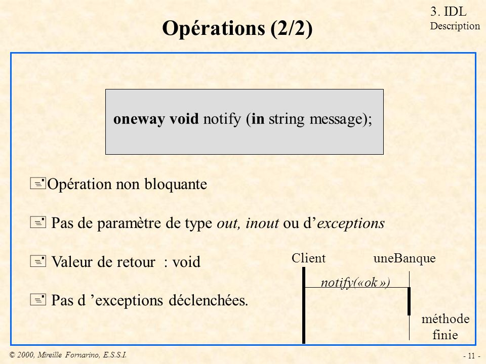 Opérations (2/2) oneway void notify (in string message);
