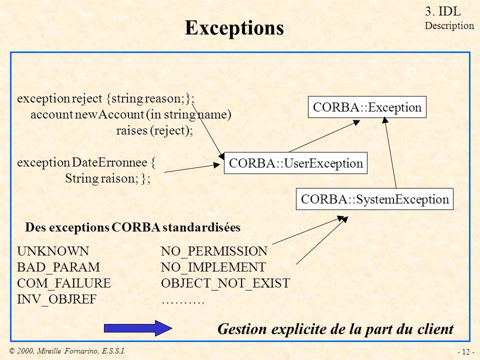 Exceptions Gestion explicite de la part du client 3. IDL