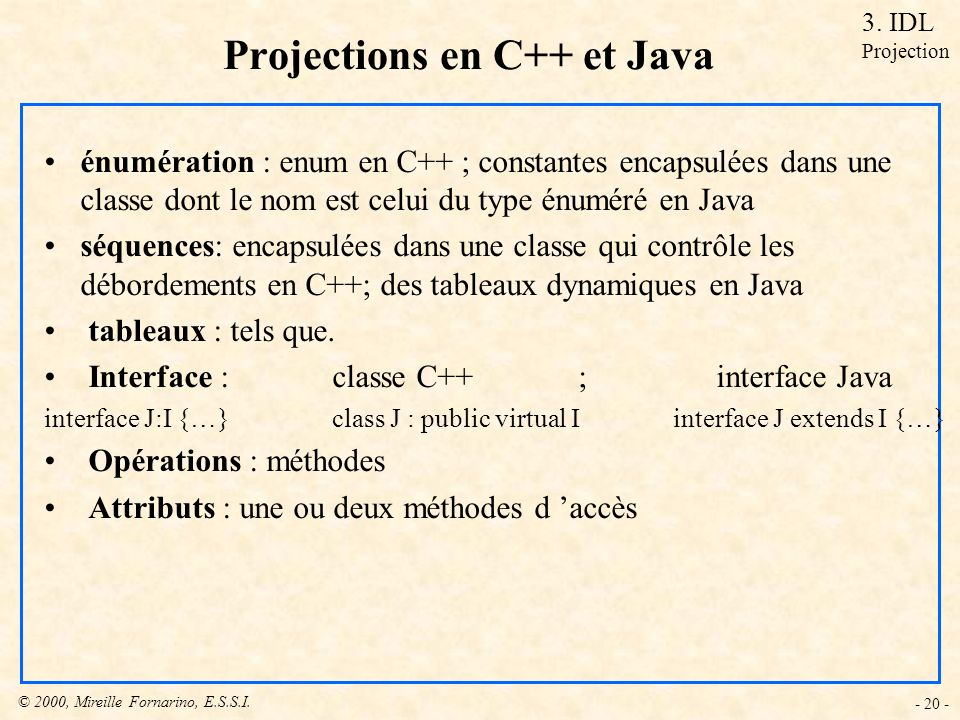 Projections en C++ et Java