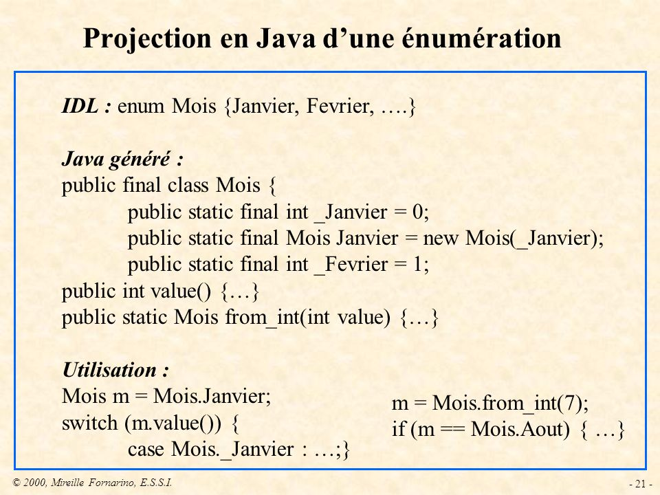 Projection en Java d'une énumération