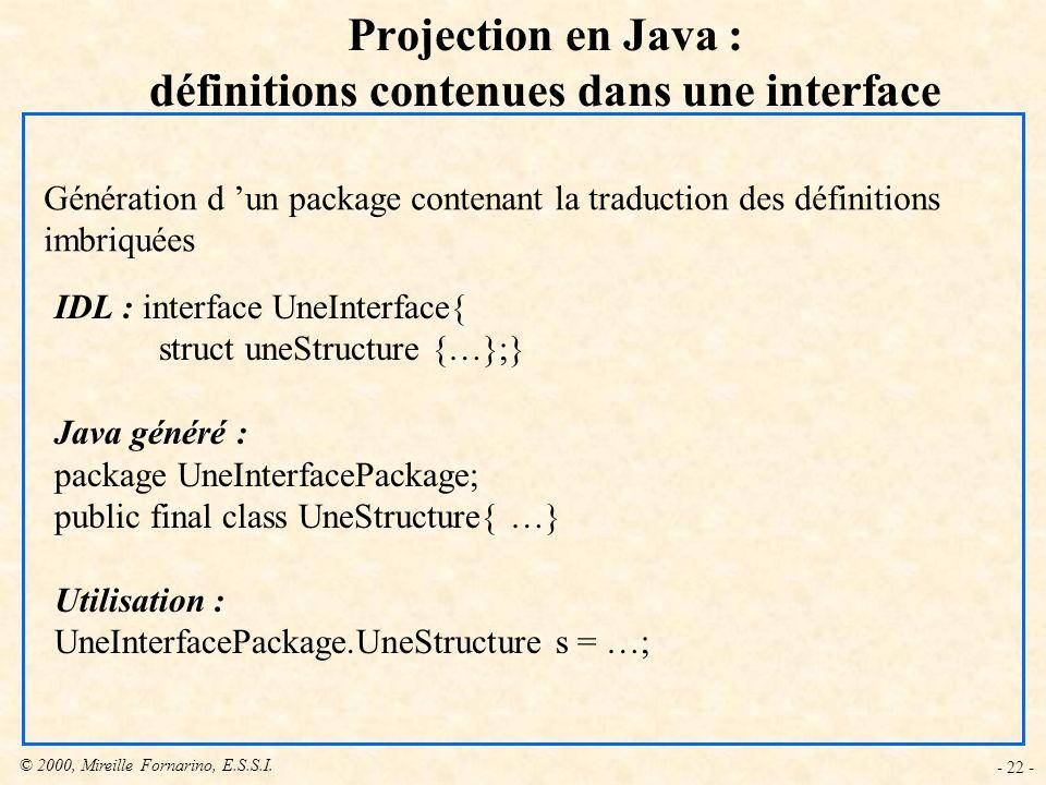 Projection en Java : définitions contenues dans une interface