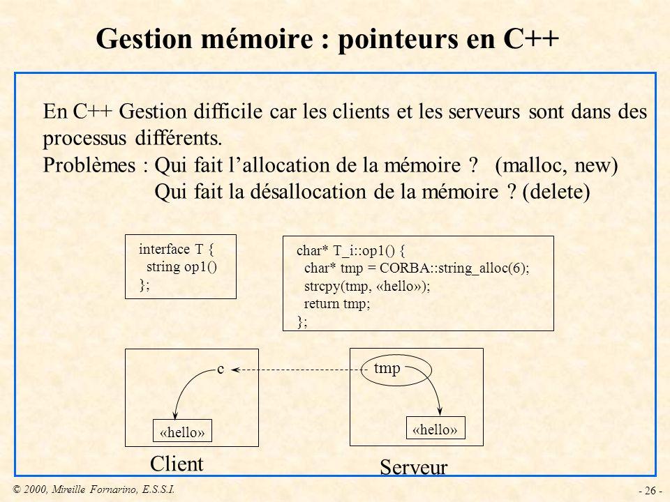 Gestion mémoire : pointeurs en C++