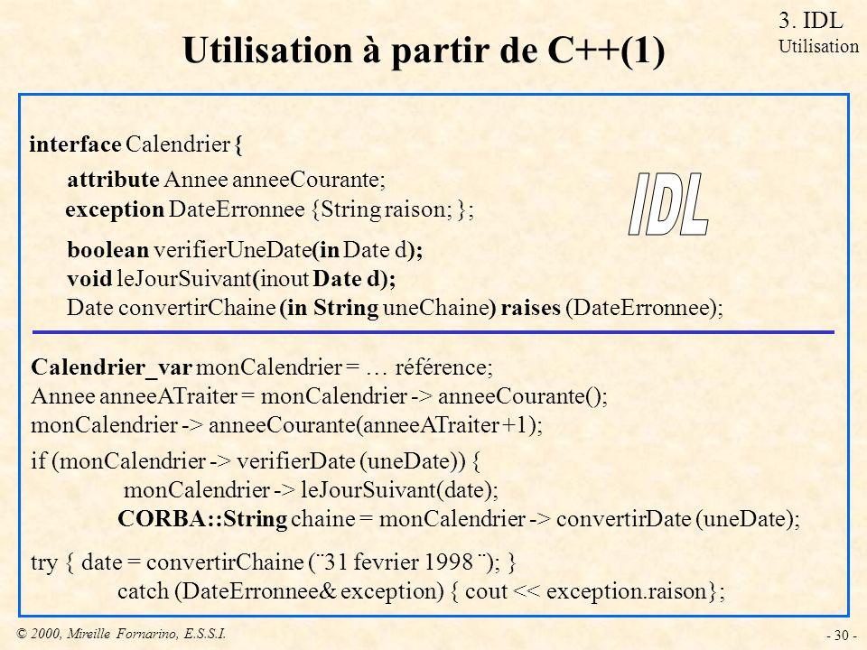 Utilisation à partir de C++(1)