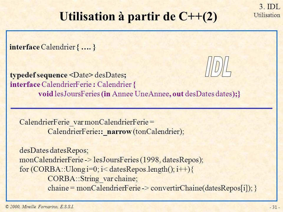 Utilisation à partir de C++(2)