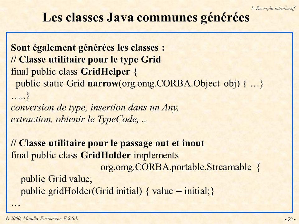 Les classes Java communes générées