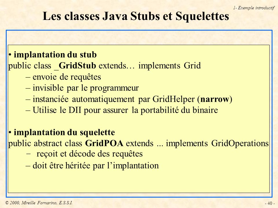 Les classes Java Stubs et Squelettes