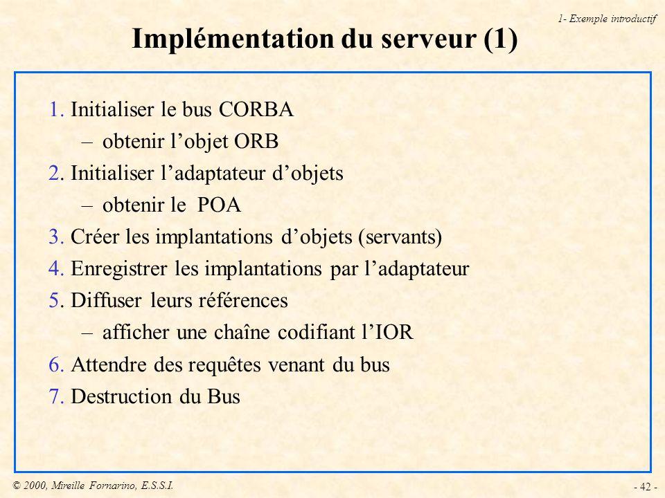 Implémentation du serveur (1)