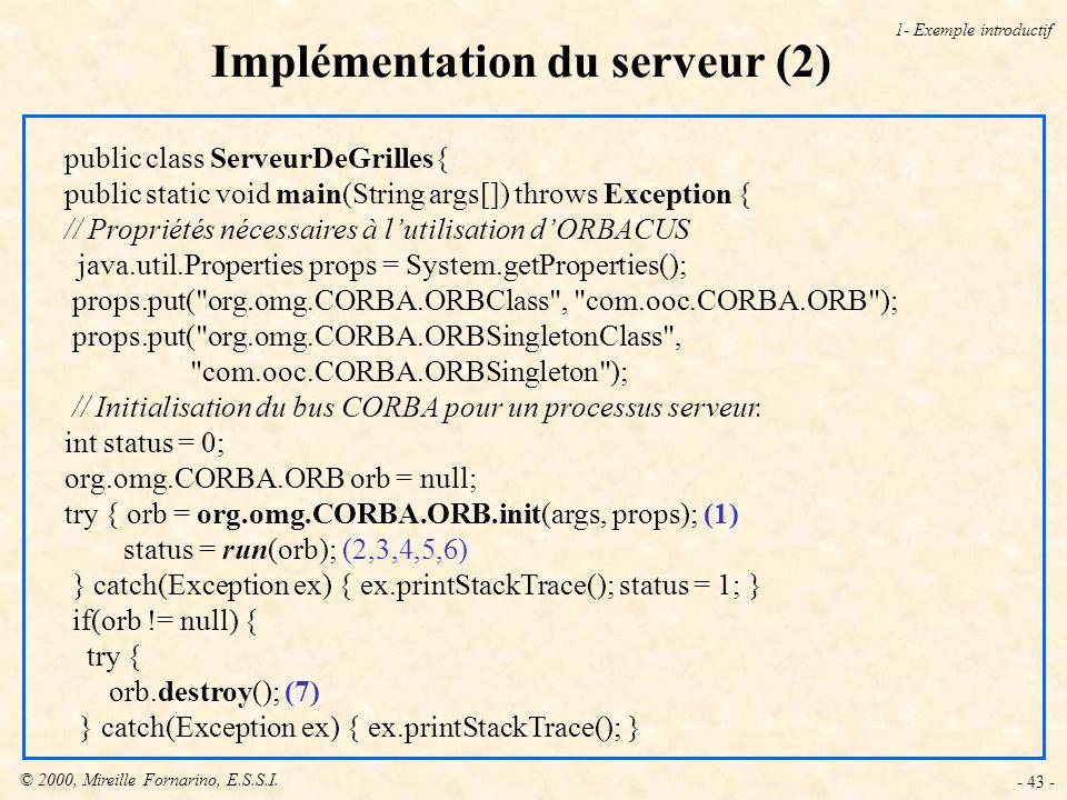 Implémentation du serveur (2)