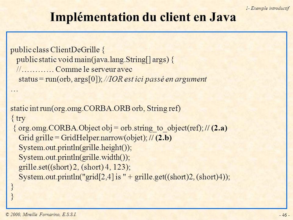 Implémentation du client en Java