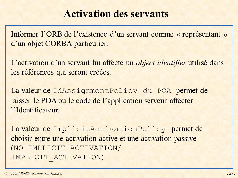 Activation des servants