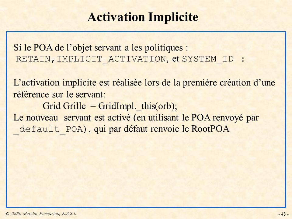 Activation Implicite Si le POA de l'objet servant a les politiques :