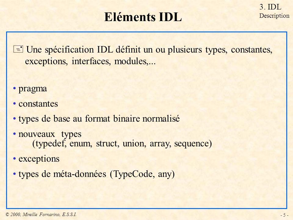 3. IDL Description. Eléments IDL. Une spécification IDL définit un ou plusieurs types, constantes,
