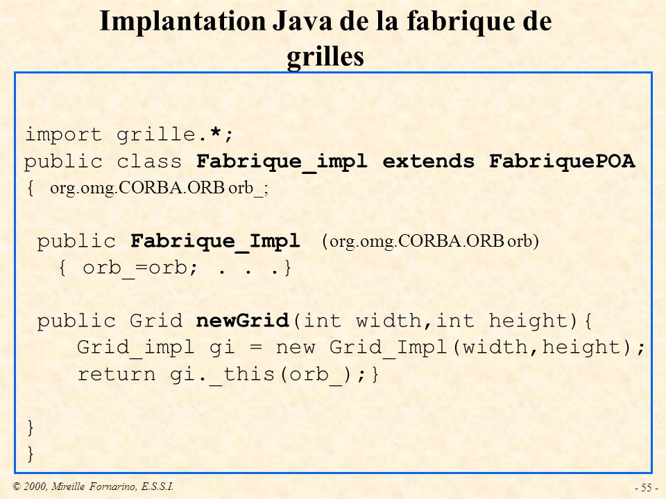 Implantation Java de la fabrique de grilles