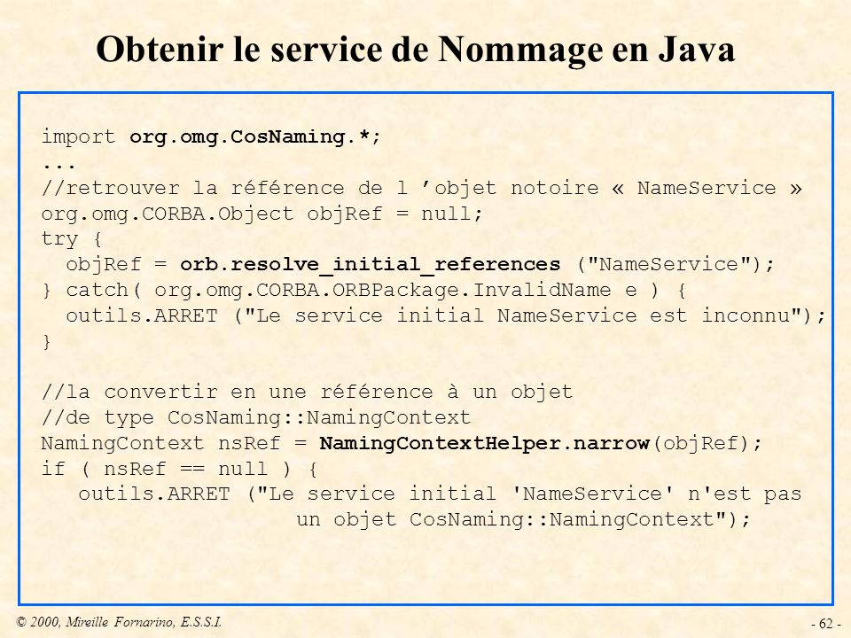 Obtenir le service de Nommage en Java