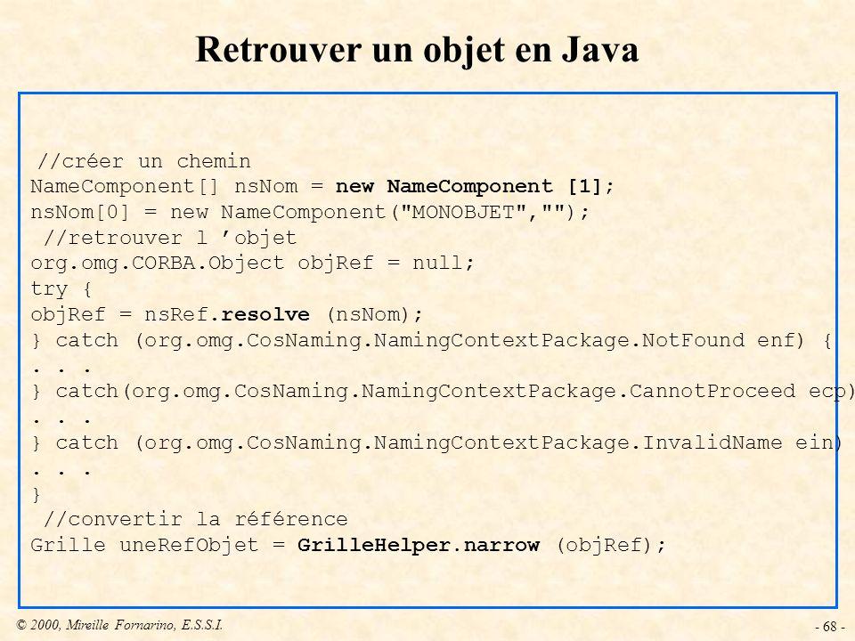 Retrouver un objet en Java