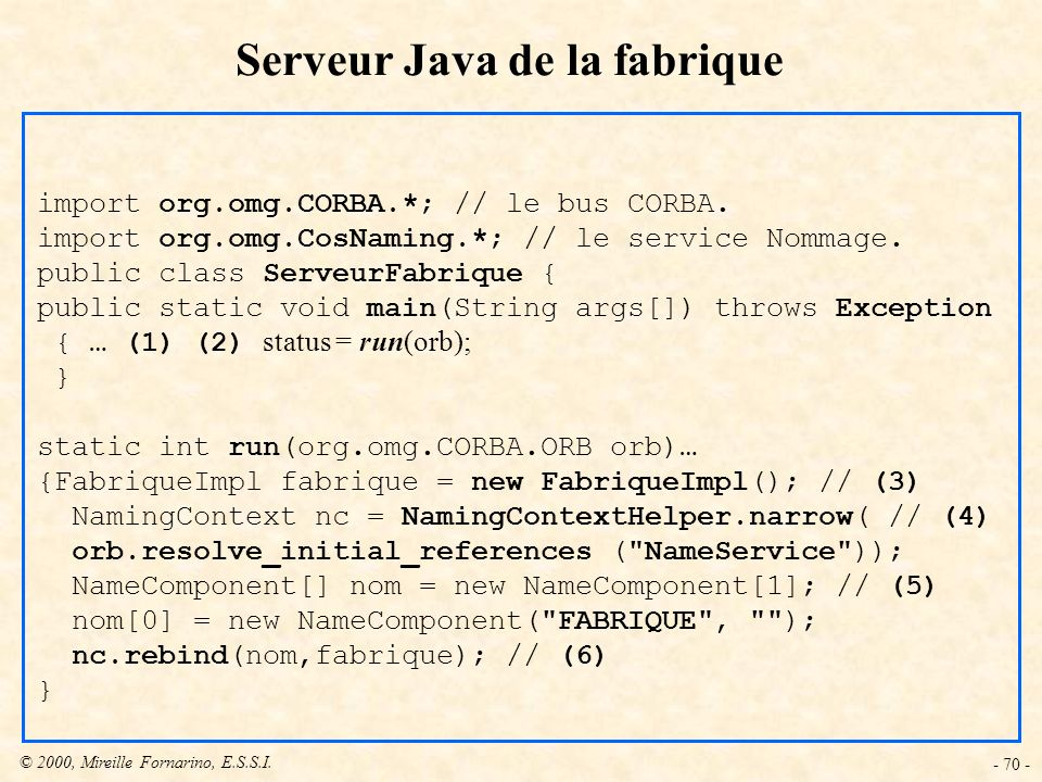 Serveur Java de la fabrique