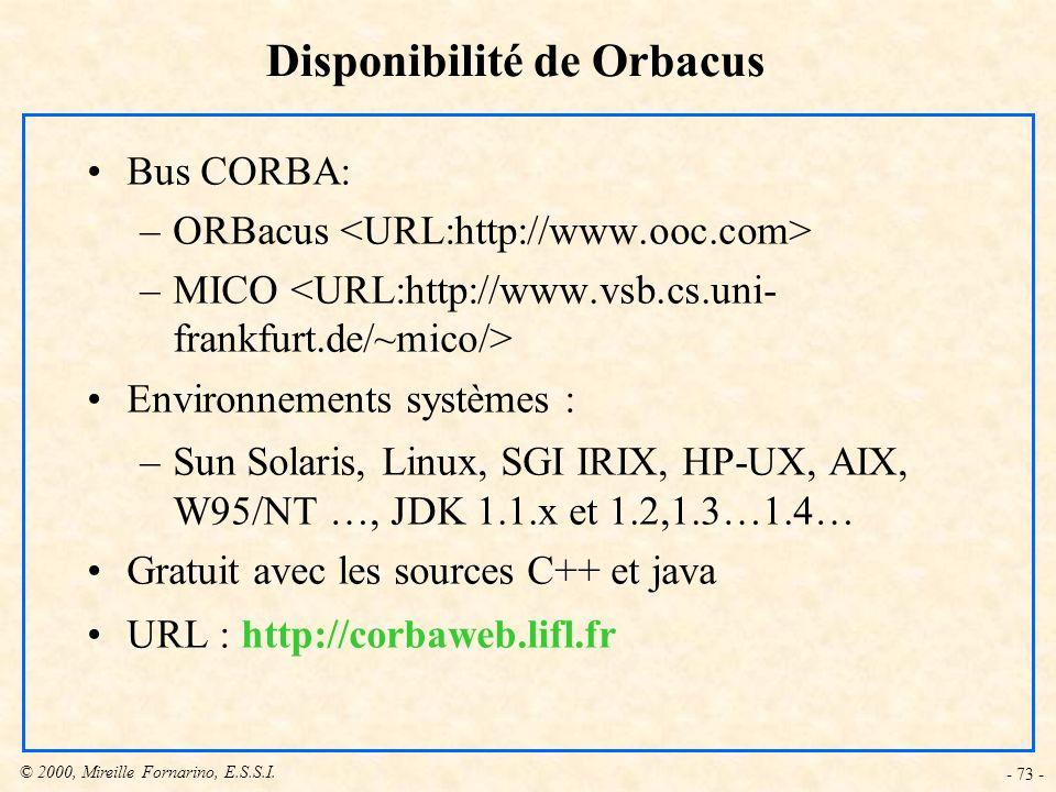 Disponibilité de Orbacus