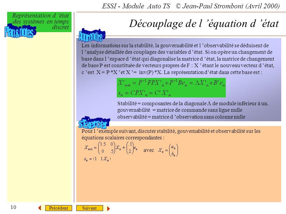 Découplage de l 'équation d 'état