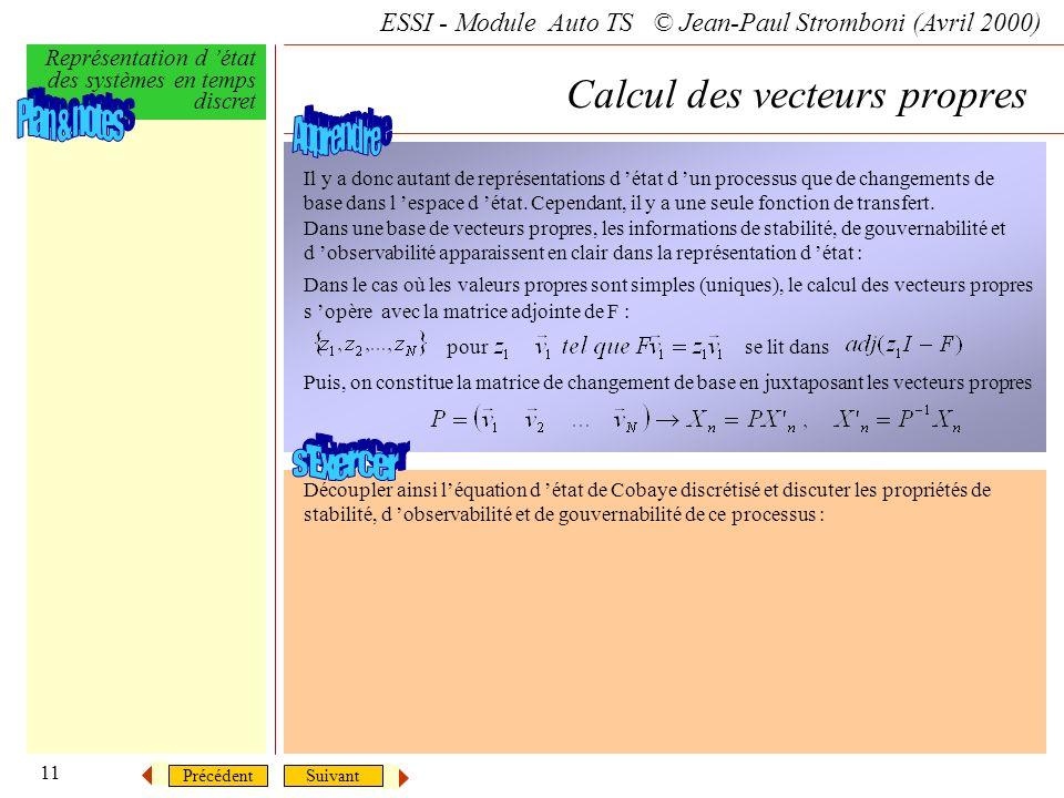 Calcul des vecteurs propres
