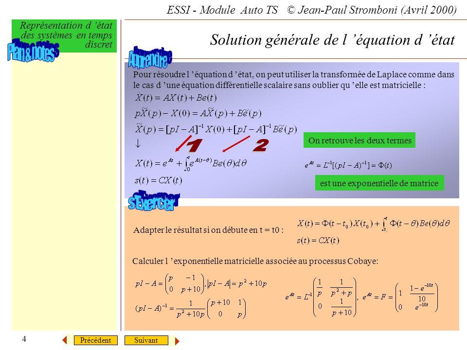 Solution générale de l 'équation d 'état