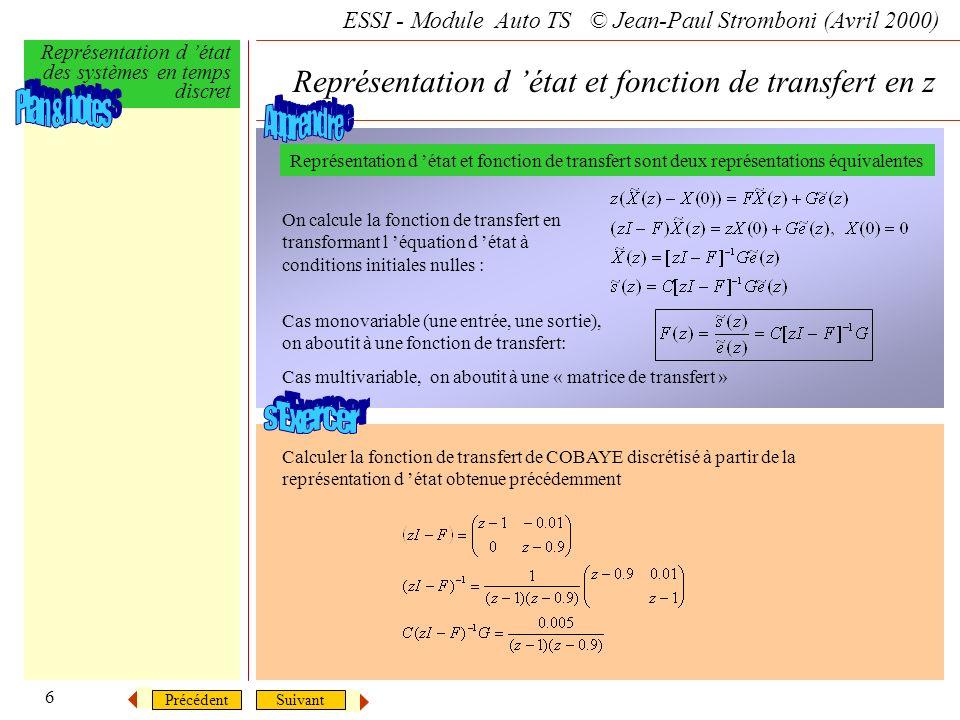 Représentation d 'état et fonction de transfert en z