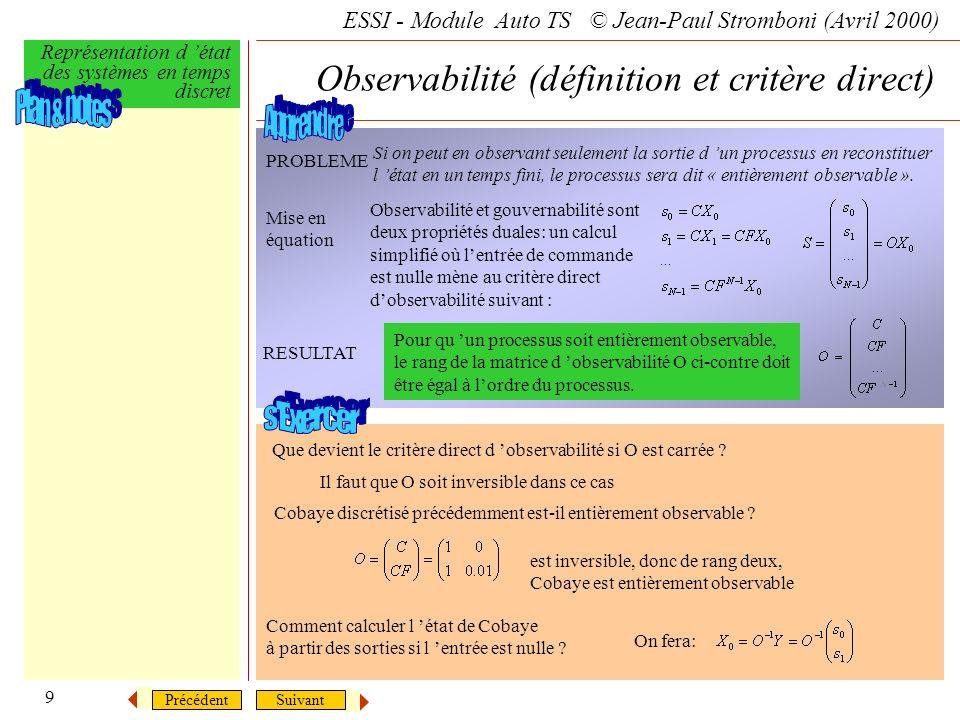Observabilité (définition et critère direct)