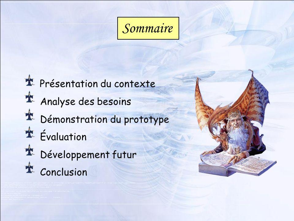 Sommaire Présentation du contexte Analyse des besoins