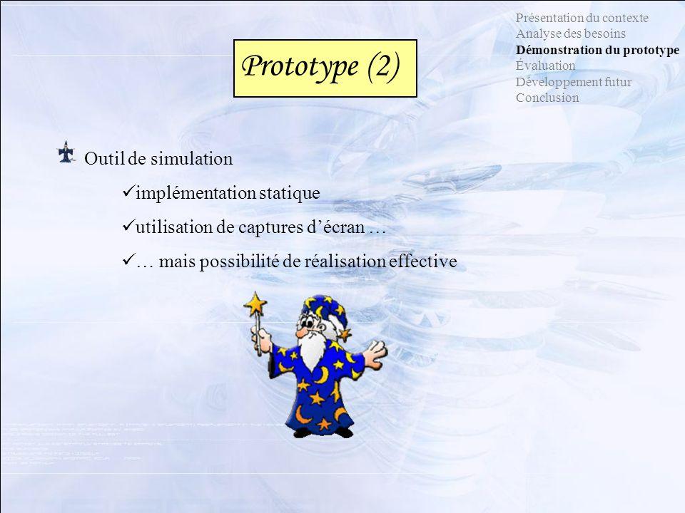 Prototype (2) Outil de simulation implémentation statique